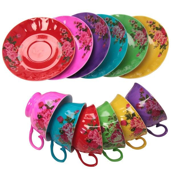 Colourful Floral Teacups & Saucers #kitchen #products #tea #cups