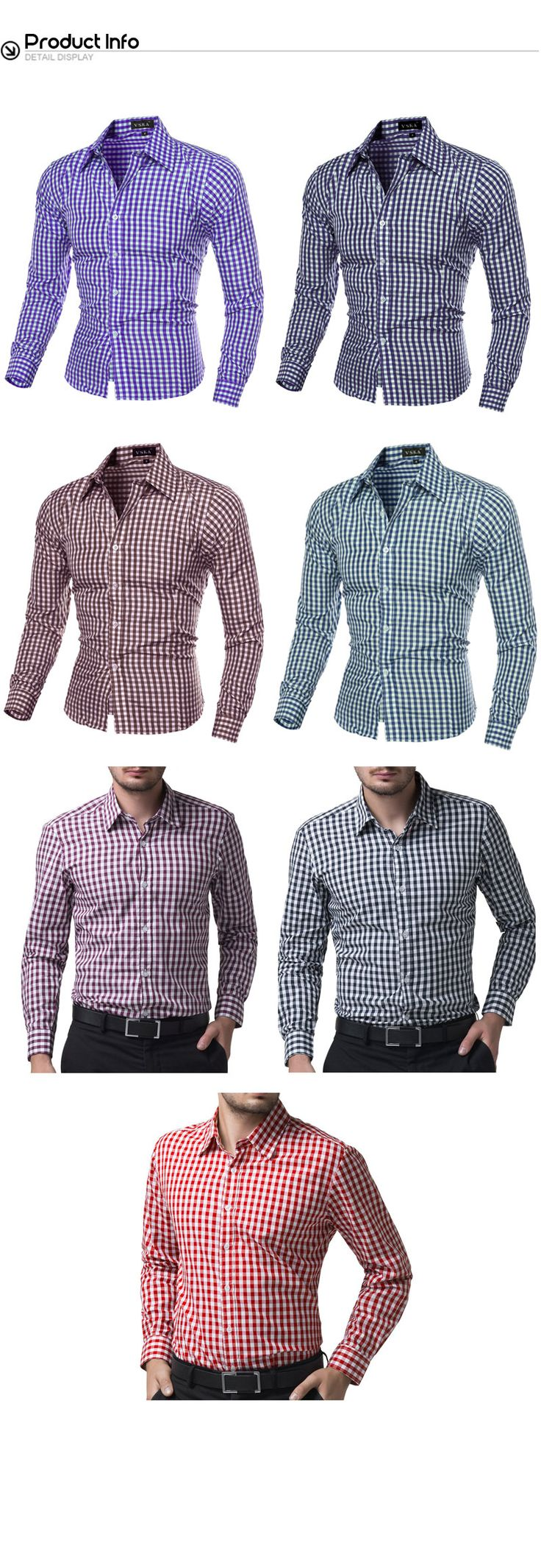 CIC Collection Mens Cotton Casual Plaid Dress Shirts