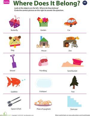 Preschool Comprehension Worksheets: Identify Objects