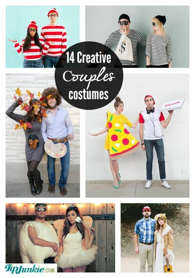 14 Creative Couples Costumes ADDED BY: Laurie...f you're looking for unique creative couples costumes, then check out these best Halloween couple costumes to dress up as characters, funny one's that bring a laugh, as well as famous couples Halloween costume ideas.