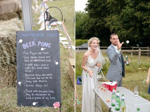 Wedding beer pong // Dasha Caffrey Photography // The Natural Wedding Company