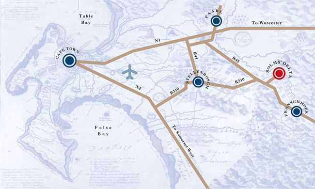 Map to Solms-Delta Wine Estate