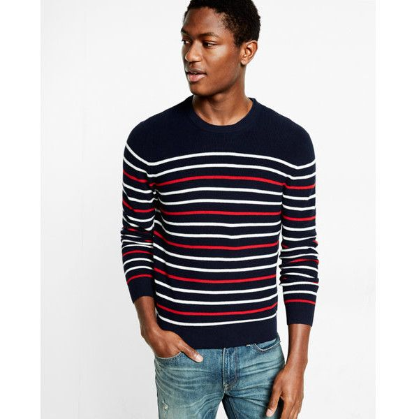 Express Cotton Textured Stripe Crew Neck Sweater ($50) ❤ liked on Polyvore featuring men's fashion, men's clothing, men's sweaters, blue, mens cardigan sweaters, mens shawl collar sweater, mens striped sweater, mens ribbed sweater and mens shawl collar cardigan sweater