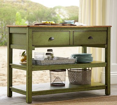 Jocelyn Wood Fixed Dining Table Weathered Green Finish