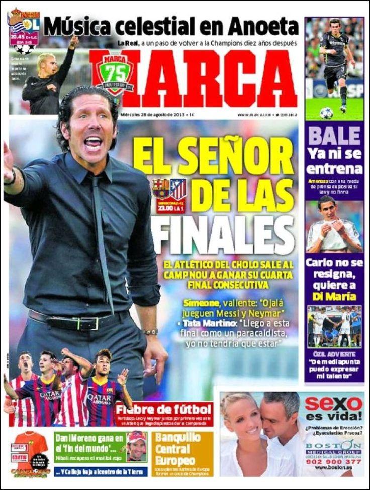 Los Titulares y Portadas de Noticias Destacadas Españolas del 28 de Agosto de 2013 del Diario Deportivo MARCA ¿Que le pareció esta Portada de este Diario Español?