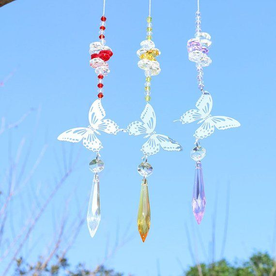 0cdf6c885 Handmade Butterfly Crystal Icicle Prism Rainbow Maker with Octagon Beads Hanging  Suncatcher Ornament (Set of 3)