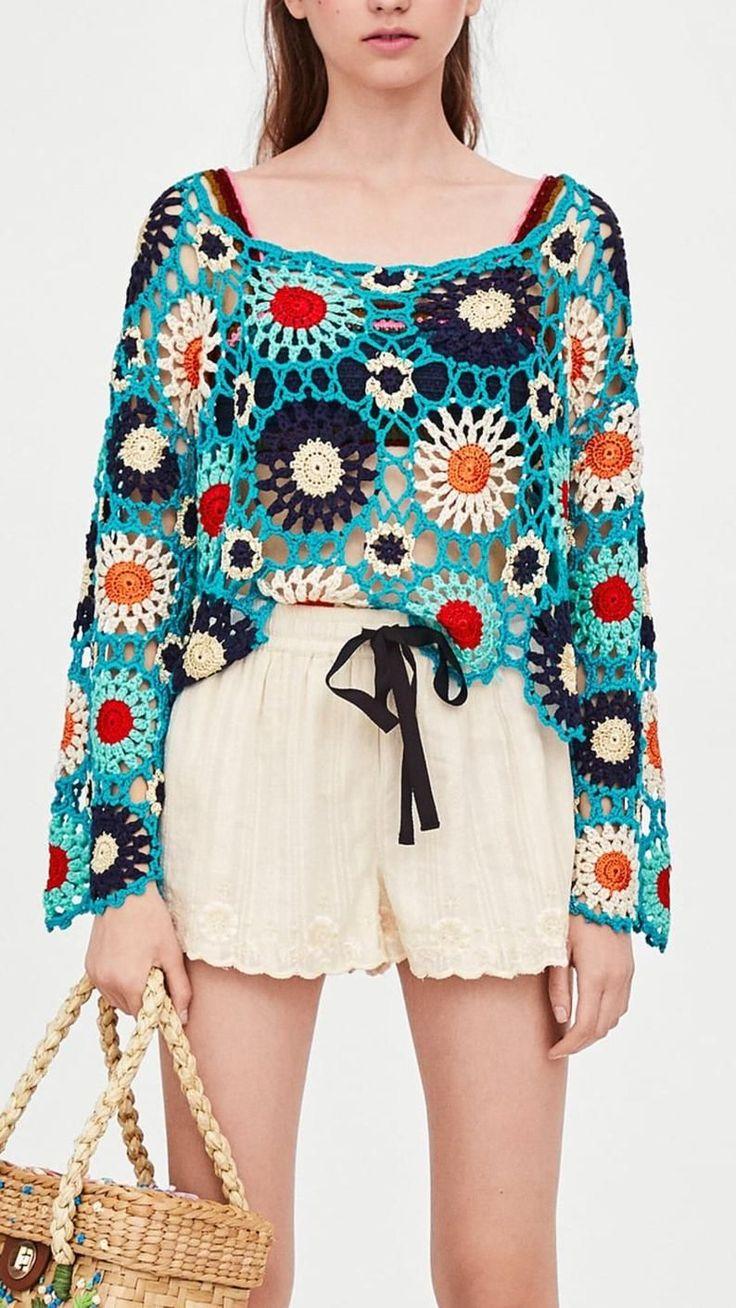 Gehäkelter Blume Pullover Pullover Crop Top Boho Hippie Yoga | Etsy