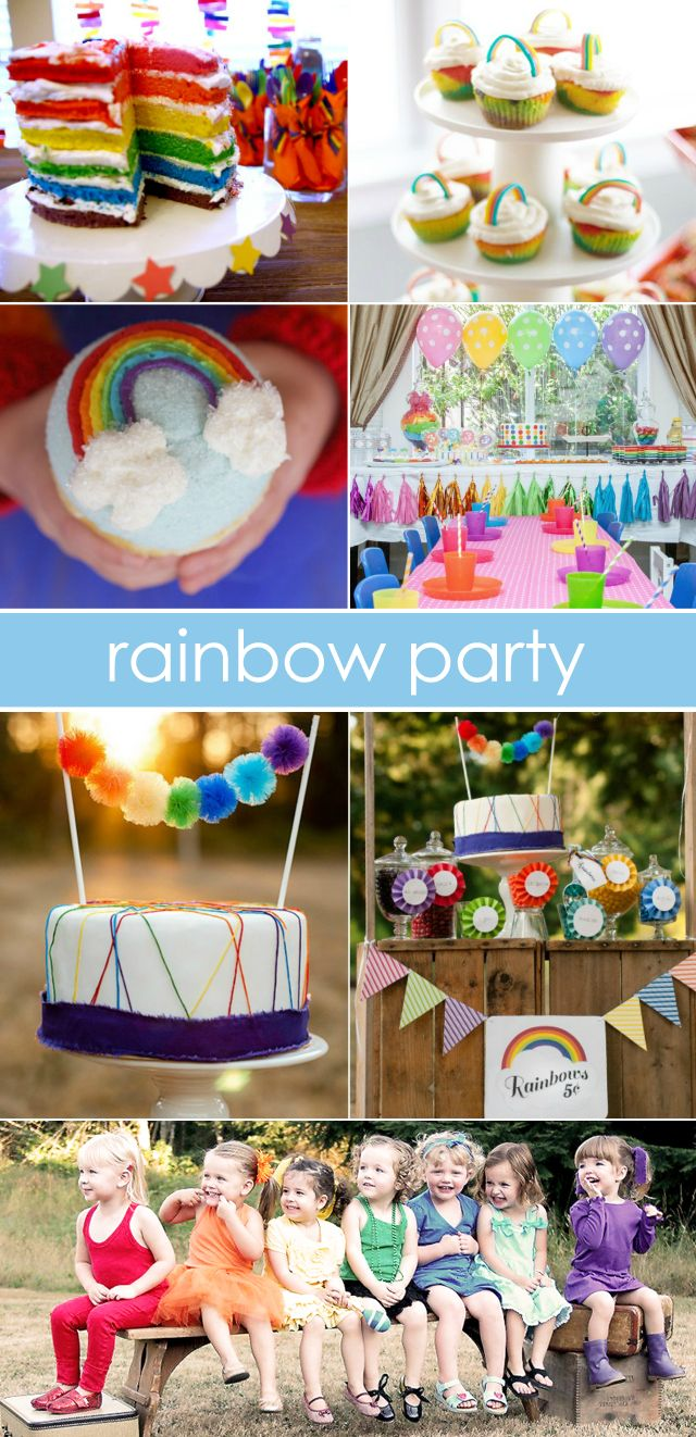 Rainbow Party Ideas - From food to decor and everything in between, we've rounded up the best of Rainbow-themed parties! #kidsparty #partyidea: Rainbow Party Ideas, Photo Ideas, Kidsparty Partyidea, Cute Ideas, Rainbow Decoration, Birthday Ideas
