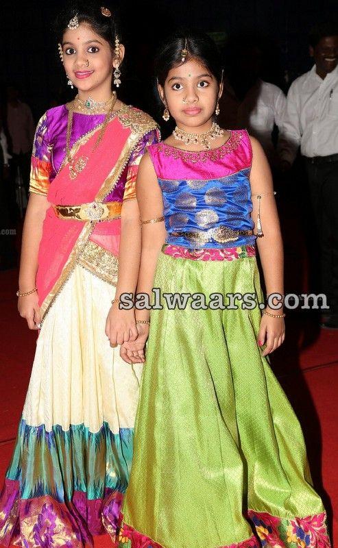 Little Girls in Silk Half Sarees