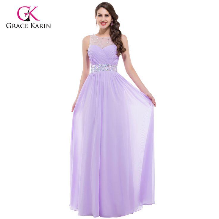 Grace karin 저렴한 핑크 보라색 들러리 드레스 50, 긴 등이없는 디자이너 웨딩 게스트 드레스 Bridemaid 파티 6112