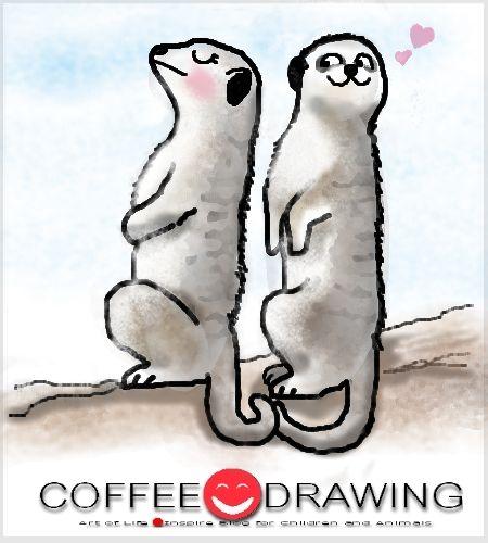 HOW TO DRAW STEP by STEP FOR KIDS PART 46 [ เมียร์แคต หรือ เมียร์แคท , meerkat หรือ suricate ] | COFFEE-DRAWING