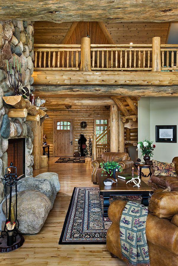 Michigan log home great room