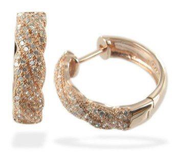 Pendientes de plata de primera ley con microcirconitas engastadas, chapados en oro rosa y de aro
