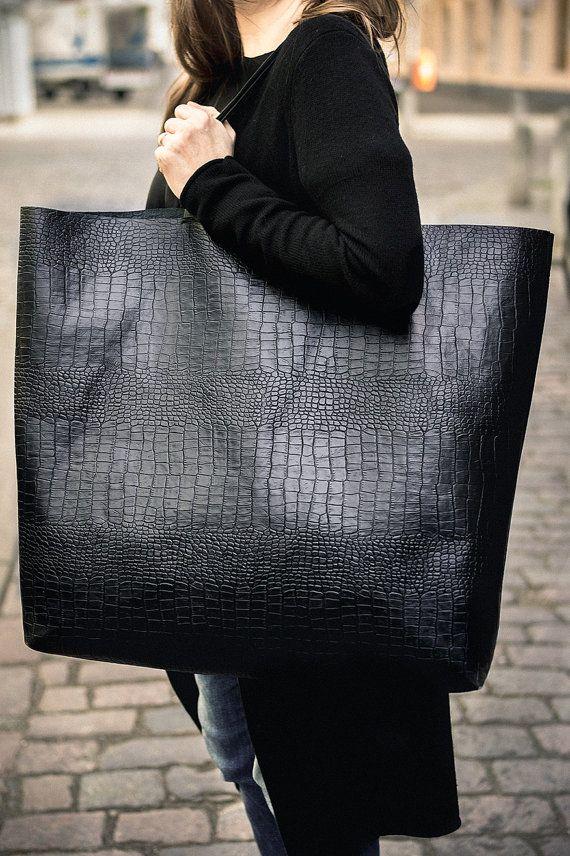 Black Oversized Croc  Tote Bag, Patkas Giant croc Original