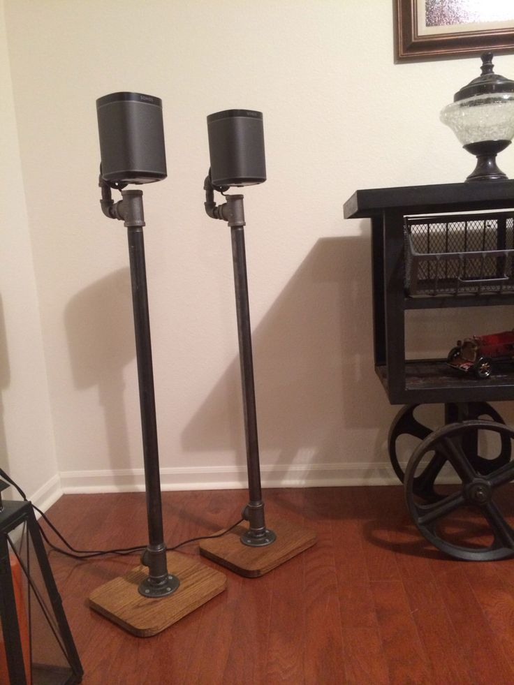 Industrial Pipe Surround Sound Speaker Stands by AlpineWoodCo on Etsy https://www.etsy.com/listing/261692090/industrial-pipe-surround-sound-speaker