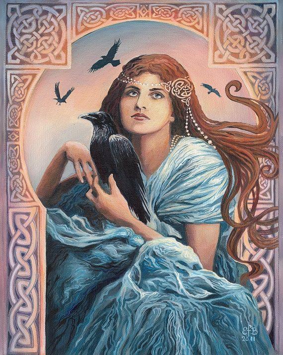 """Deusa Morrigan (Goddess Morrigan), Deusa Celta da batalha, conflito e fertilidade. Está associada a um corvo. Morrígan (""""Terror"""" ou """"Rainha Fantasma""""), também escrita Mórrígan (""""Grande Rainha"""") é uma figura da mitologia irlandesa (céltica) que aparenta ser uma divindade, embora não seja referida como """"deusa"""" nos textos antigos. Uma equivalente a Alecto - uma das Fúrias na mitologia grega ou ainda como o demônio hebreu Lilith."""