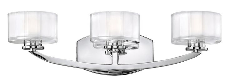 The Meridian Bathroom Vanity Light features a Brushed Nickel or Chrome finish with thick faceted clear inside etched glass. Available in four sizes with two lamping options. HAL: 60 watt 120 volt JCD G9 halogen bulbs are included. LED: 6.6 watt 120 volt 91CRI, 2700K, 500 lumen output LED modules are included. 1 light: 5 inch width x 8 inch height x 6.5 inch depth. 2 light: 14 inch width x 6 inch height x 6.25 inch depth. 3 light: 21 inch width x 6 inch height x 6.25 inch depth. 4 light: 29…