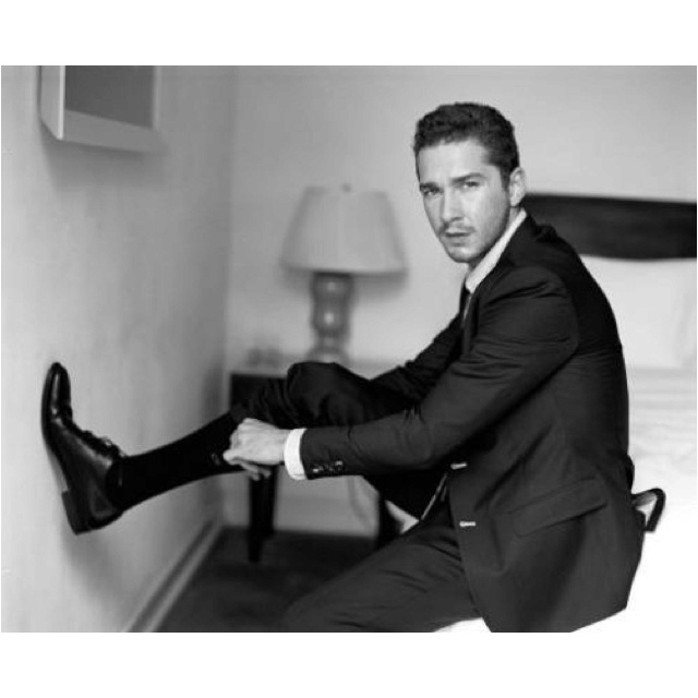 Shia LeBouf, you can adjust your socks on my bed any day.