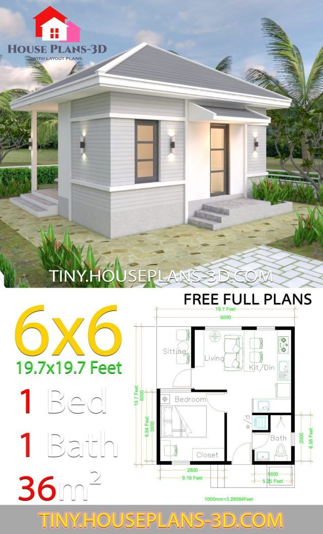 Small House Plans 6x6 with One Bedroom Hip Roof Tiny House Plans Simple house plans Small house design Tiny house design