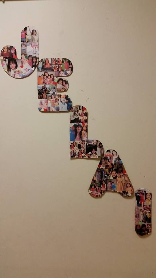 Photo cut-outs letter name. wall deco