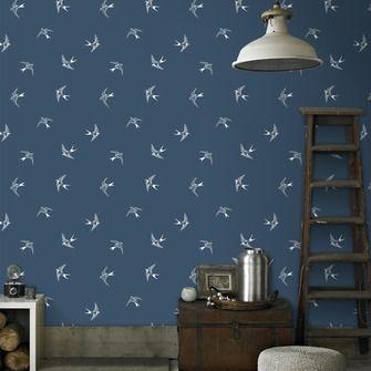 Vliesbehang zwaluw blauw-wit (dessin 33-269)