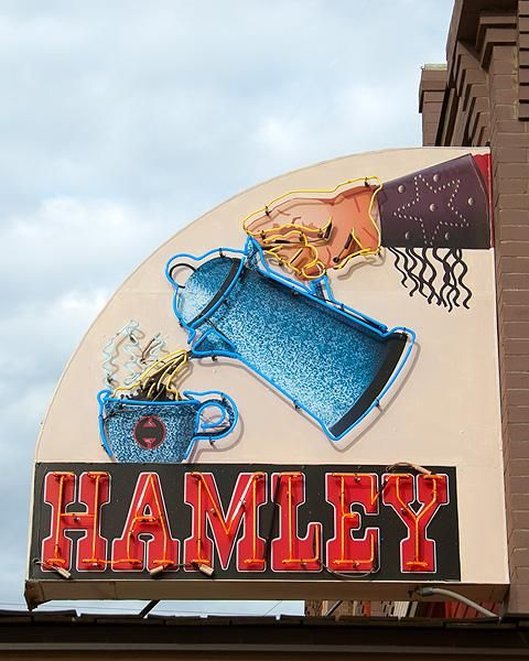 Hamlet Family Cafe  Pendleton, Oregon  In 1905 the Hamely family moved to Pendelton, Oregon and through the years created an empire of western themed businesses, such as their famed leather goods company, western art gallery, amazing steakhouse and cafe.