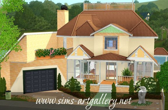 Orange flower house http://www.sims-artgallery.net/en/gallery/sims-3/lots/residential-lots/medium/321/