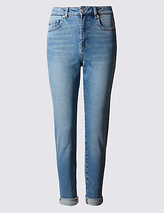 High Rise Cropped Straight Leg Mom Jeans | M&S