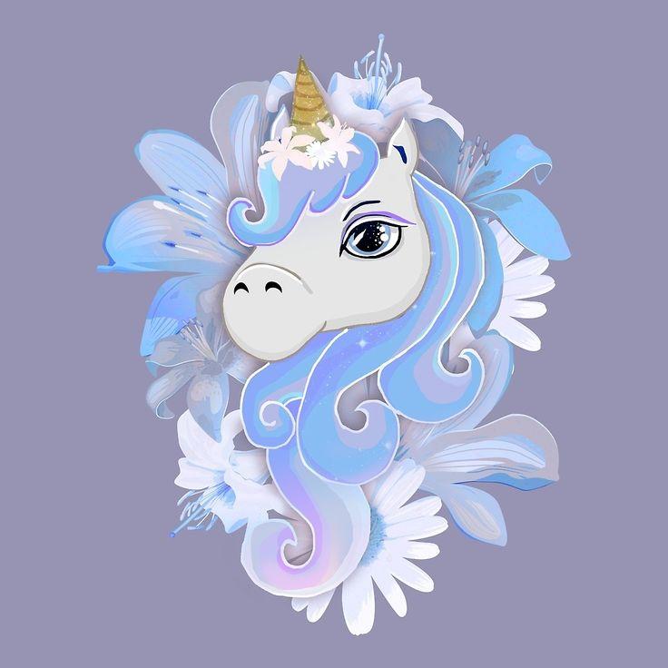 """floral unicorn"" by vitag | Redbubble horse unicorn magic mythology fantasy flowers floral purple blue lily"