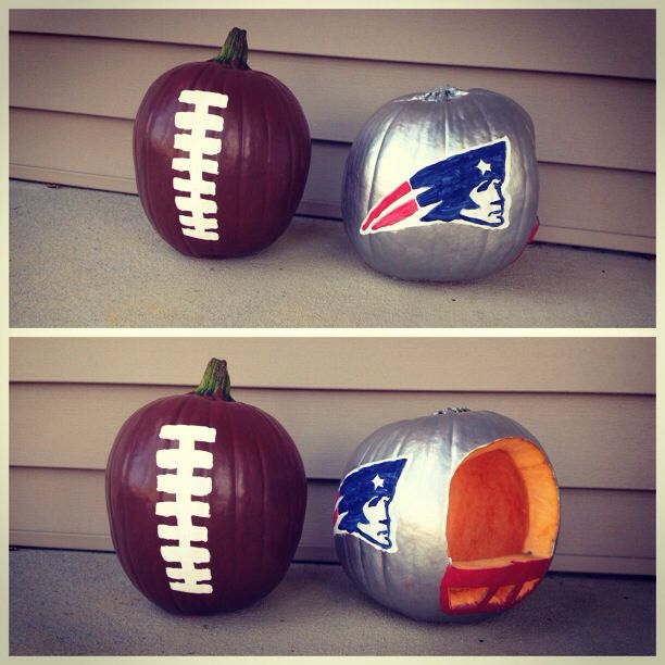 My New England Patriots pumpkin for this halloween I made. Football loves unite!