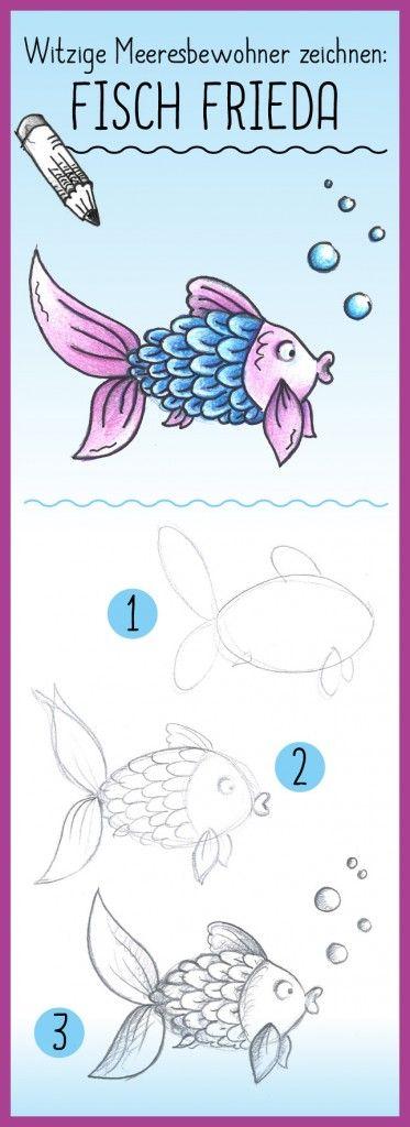 Witzige Meeresbewohner zeichnen – Fisch Frieda #Anleitung auf #arskreativ #DIY