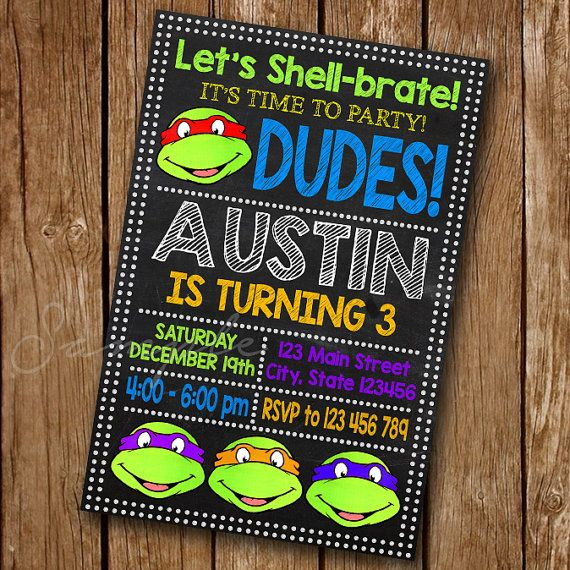 Ninja Turtle Invitation Ninja Birthday Ninja by luxuriouspixel