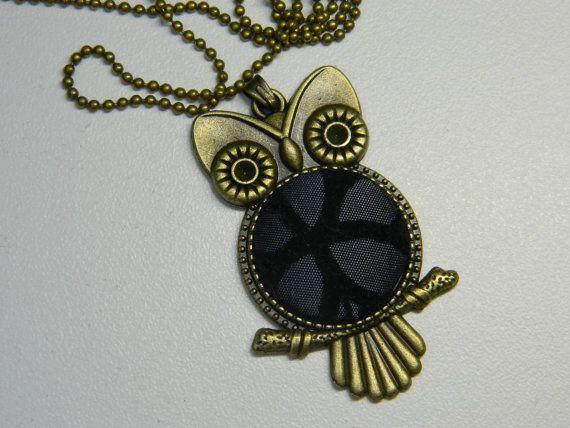 Black Velvet Button Owl Pendant Girfriend Gift by LittleRubyAtom