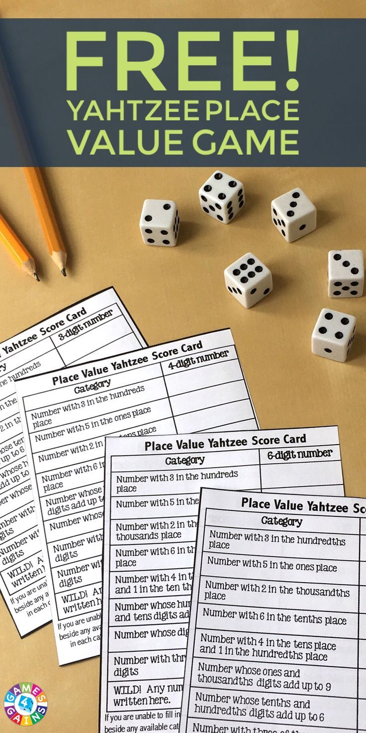 Place Value Yahtzee! Learn how to play this fun place value game and download your free Place Value Yahtzee score sheets. Great for grades 2-6!