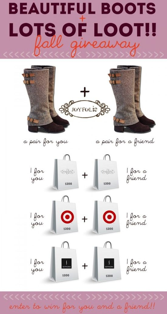 Win beautiful boots and lots of loot in this amazing fall giveaway!