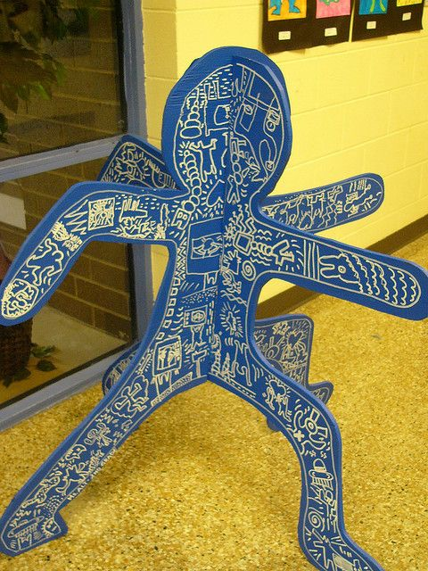 Keith haring. Kids build shapes with foam core but have them make a statement. Message. With the drawings.