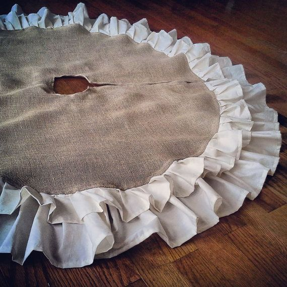 double ruffle burlap tree skirt natural burlap christmas countryfolkrustic other colors available customize - Rustic Christmas Tree Skirt