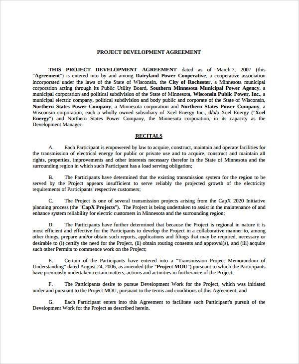 Project Development Agreement