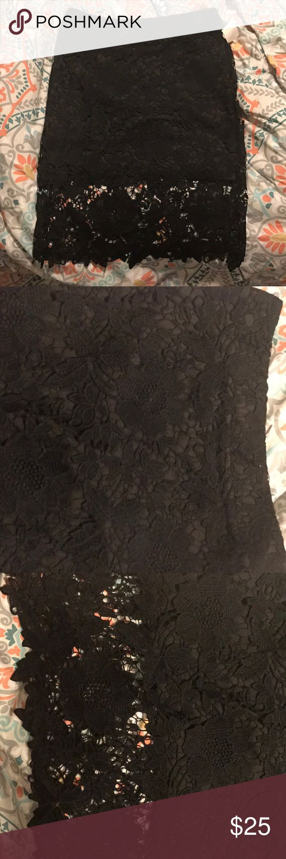 Black lace skirt This floral/lace skirt features a sharp pencil fit,  A-line half of slip giving you just enough skin to show through the lace that ends just above the knees,, Skirt also features a sliver zipper to the back great for any occasion ladies Skirts Midi