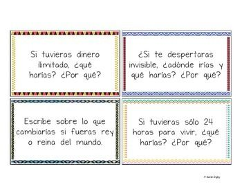 best classroom images teaching spanish 100 conditional and imperfect subjunctive spanish prompts