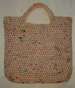 The is a reusable shopping bag made from plastic bags! I think this is a great idea and plan on making several.