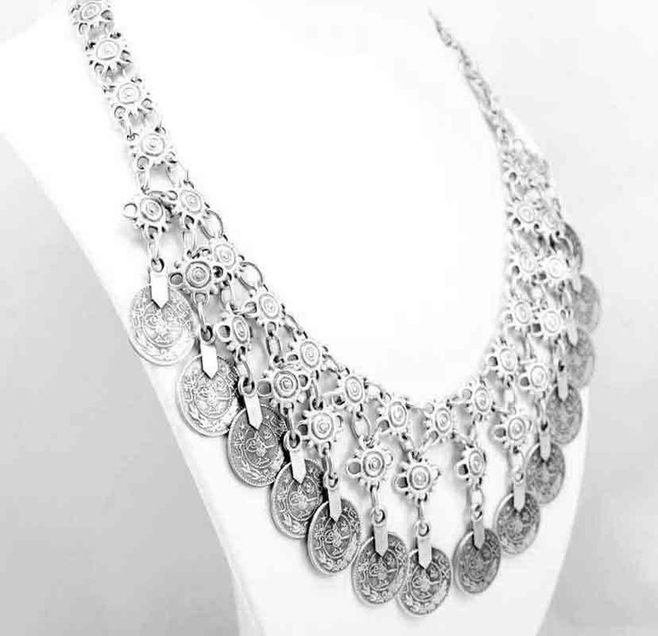 Silver coin necklace. Model 1015.