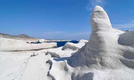White rock formations, Milos island, Greece