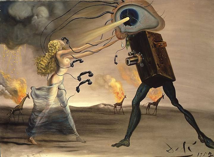 "Salvador Dali: Rhapsodie Moderne (Les Sept Arts), 1957 ""What is a television apparatus to man, who has only to shut his eyes to see the most inaccessible regions of the seen and the never seen, who has only to imagine in order to pierce through walls and cause all the planetary Baghdads of his dreams to rise from the dust."" ~Salvador Dali  Posted by Monika Martin- www.dali.com"