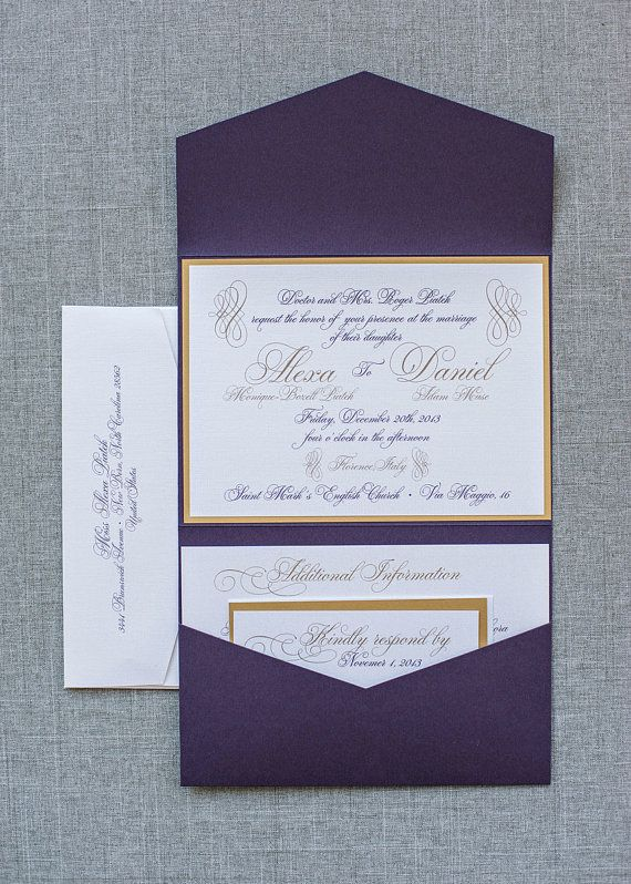 Purple and Gold Formal Pocket Wedding Invitation by LamaWorks
