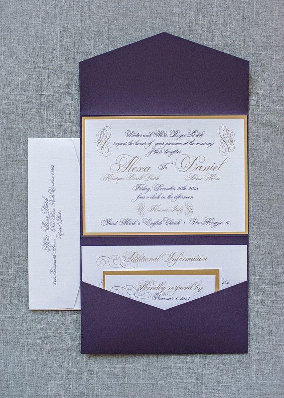 Purple and Gold Formal Pocket Wedding Invitation by LamaWorks