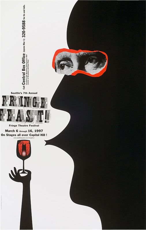 "Modern Dog Design (Seattle, USA), poster ""Fringe Feast"" for the Fringe Theatre Festival Seattle, 1997"