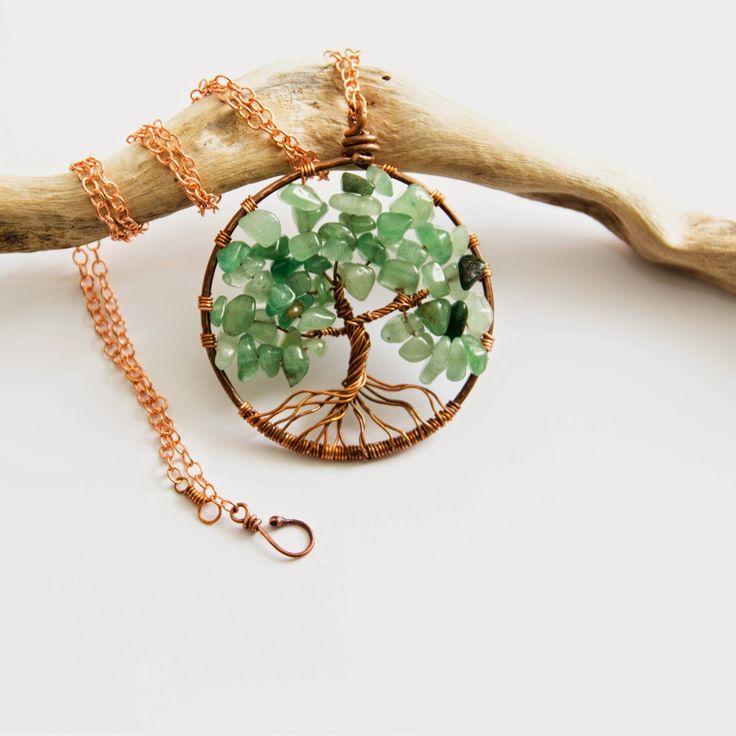 ciondolo albero della vita in rame e acquamarina fatto a mano, handmade copper and aquamarina pendant