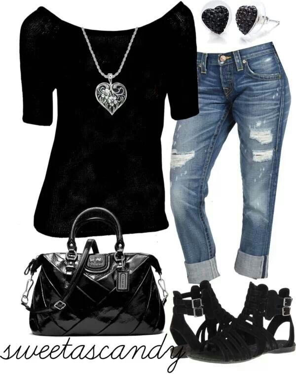 Black tee, jean capri, black metal sandals, grey purse, long chain with James Avery burst pendant