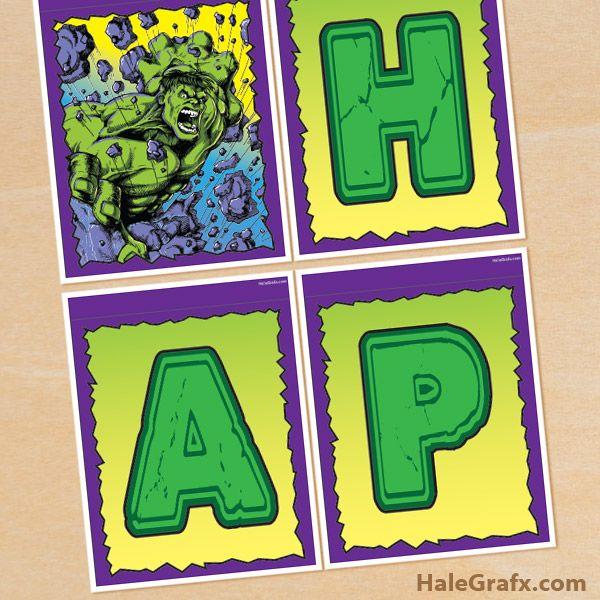 Hulk Birthday Banner Free Printable Incredible Hulk Birthday